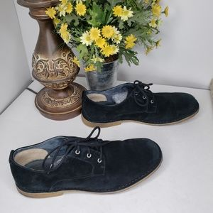 Ugg Black Suede Oxford Chaucer Lace Up Shoe Sz 14